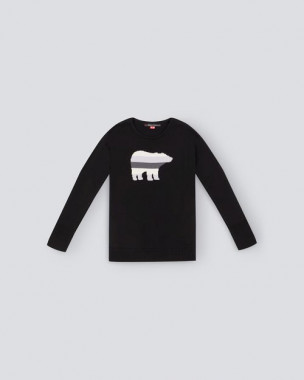 Kids Merino Wool Bear Sweater Black