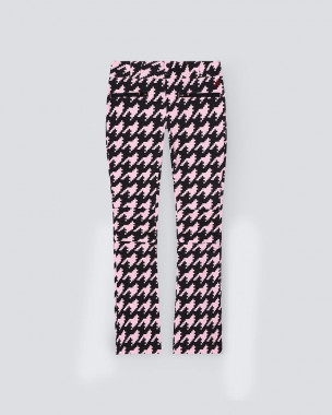 Womens Aurora Flare Pant Pink Houndstooth