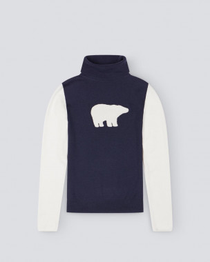 WOMENS BEAR TURTLE NECK SWEATER II NAVY/WHITE