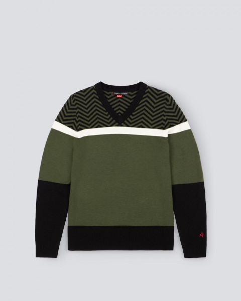 MENS FOLDED CHEVRON V NECK SWEATER II GREEN