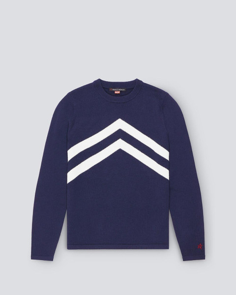 MENS CHEVRON STRIPE CREWNECK SWEATER NAVY