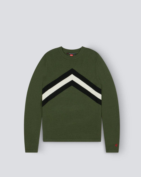 MENS CHEVRON STRIPE CREWNECK SWEATER GREEN