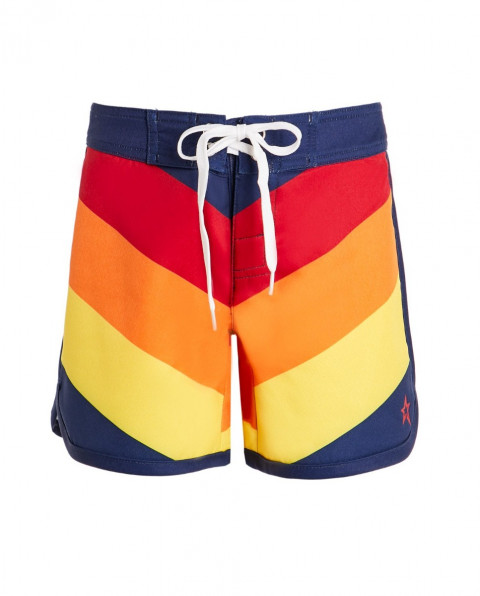 Kids' Chevron-print Drawstring Board Shorts Rainbow