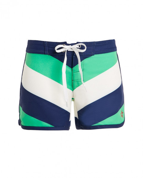 Kids' Chevron-print Drawstring Board Shorts Green