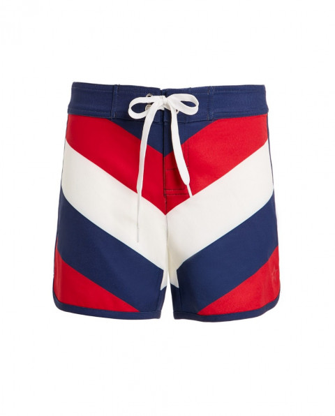 Kids' Chevron-print Drawstring Board Shorts Red