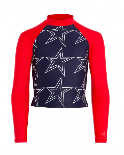 Kids' Star-Print Rash Guard Red