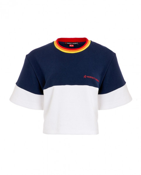 Womens Colour-block T-shirt Navy Rainbow