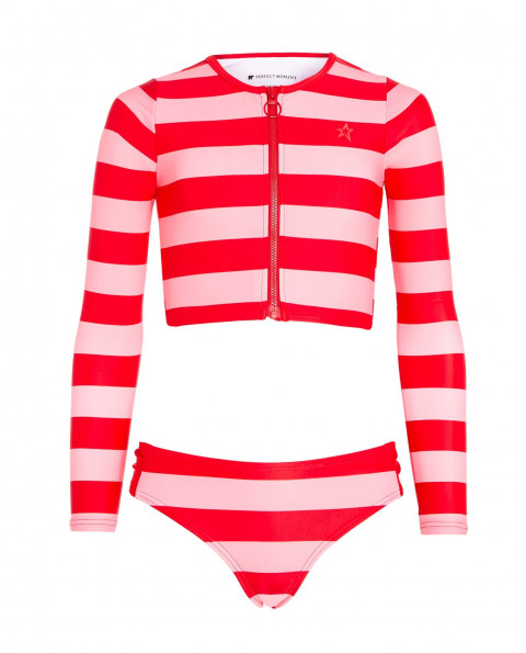 Kids Striped Rash Guard Bikini Set Pink|Perfect Moment
