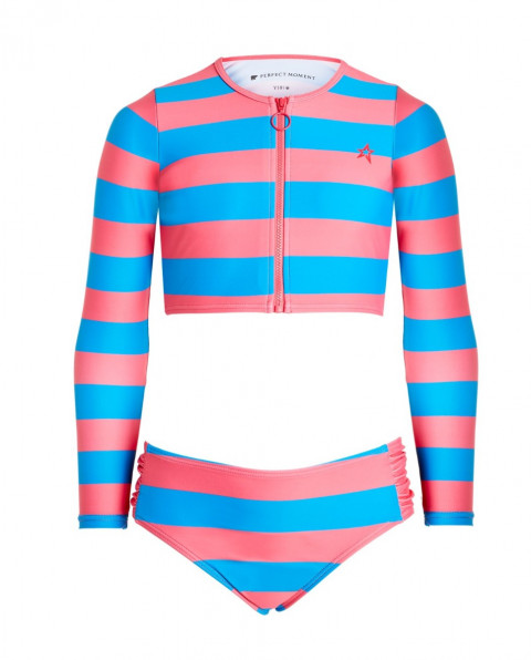 Kids' Striped Rash Guard Bikini Set Colbalt