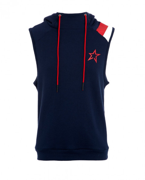 Men's Sleeveless Cotton-Jersey Hooded Top Navy