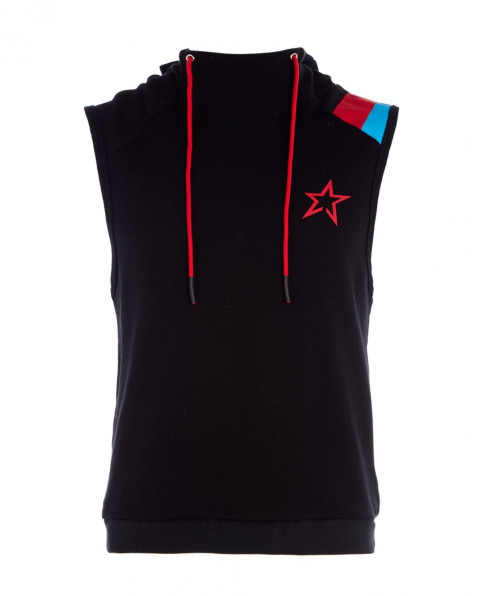 Men's Sleeveless Cotton-Jersey Hooded Top Black