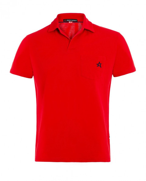 Men's Placket Pocket Polo Shirt Red