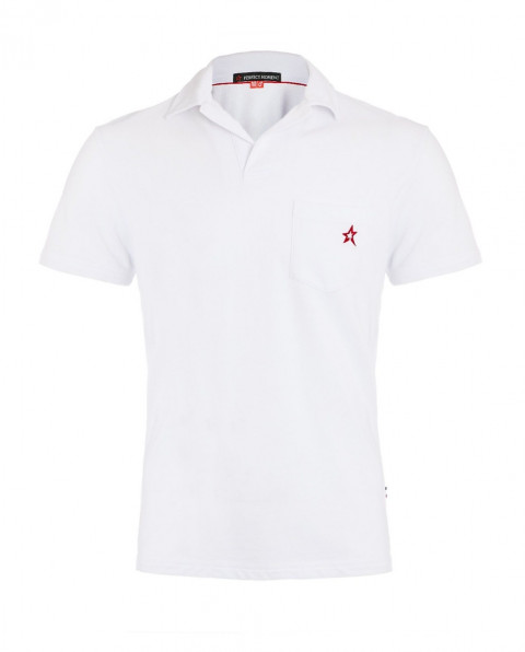 Men's Placket Pocket Polo Shirt White