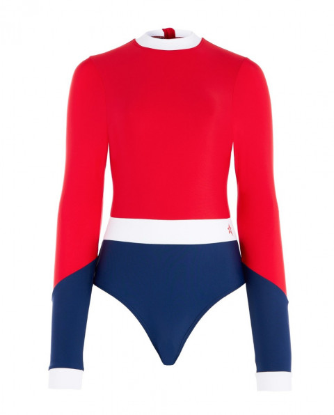 Women's Colour-Block Long-sleeved Swimsuit Red