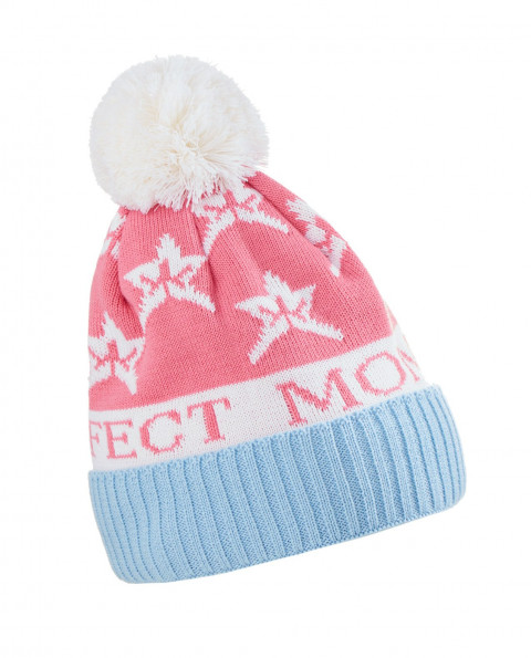 Unisex Wool blend PM Star Beanie Hat Peach Pink