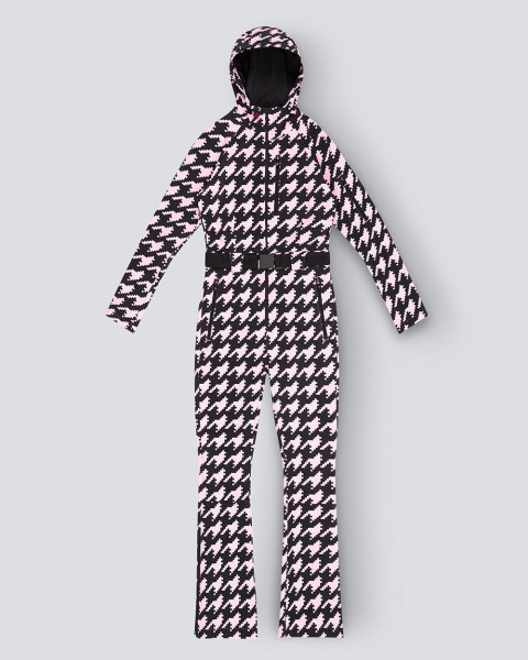 WOMENS STAR SUIT ONE PIECE PINK HOUNDSTOOTH
