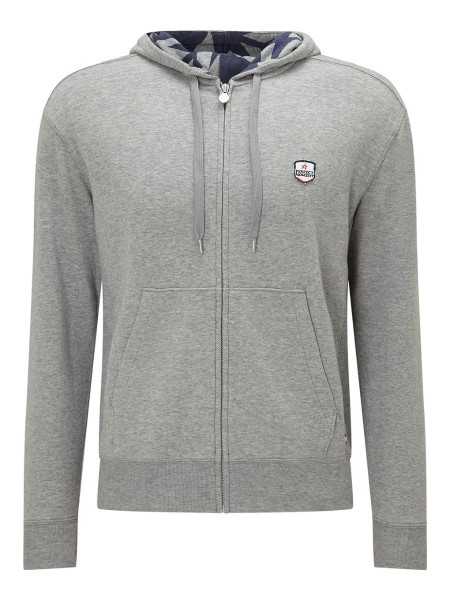 Men's Cotton-Jersey Zip-up Hooded Jacket Grey