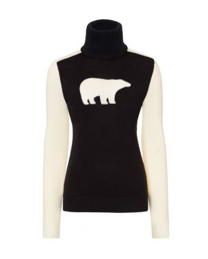 Womens Merino Wool Bear Sweater Black
