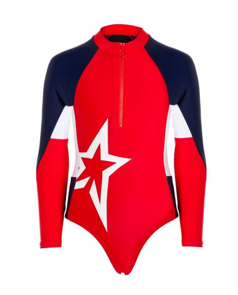 Kids' Star-print Long-sleeved Swimsuit Red