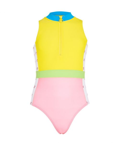 Kids Star-print Panelled Swimsuit Rainbow