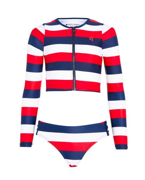 Kids Striped Rash Guard Bikini Set Rainbow