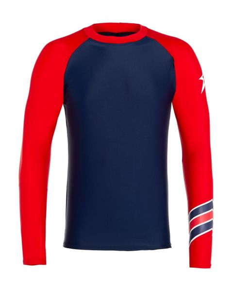 Mens Chevron-print Rash Guard Navy