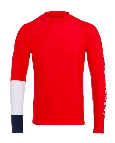 Men's Colour-block Rash Guard Red