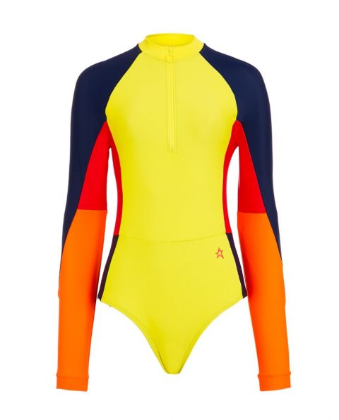 Women's Long-Sleeved Surfing Swimsuit Citron