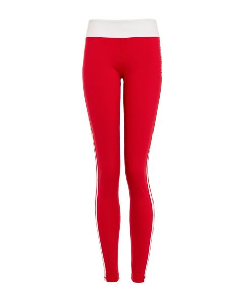 Womens Mesh-Trimmed Leggings Red|Perfect Moment