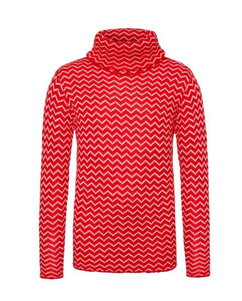 Kids' Zigzag Turtle-Neck Sweater Red