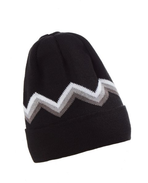 Unisex Wool blend Zig Zag Beanie Hat Black