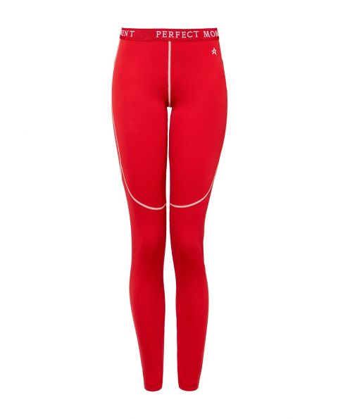 Womens Knitted Thermal Leggings Red