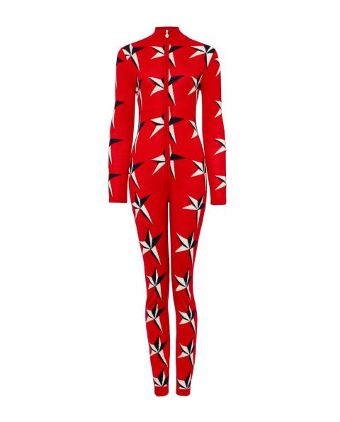 Womens Merino Wool Star II Jumpsuit Red