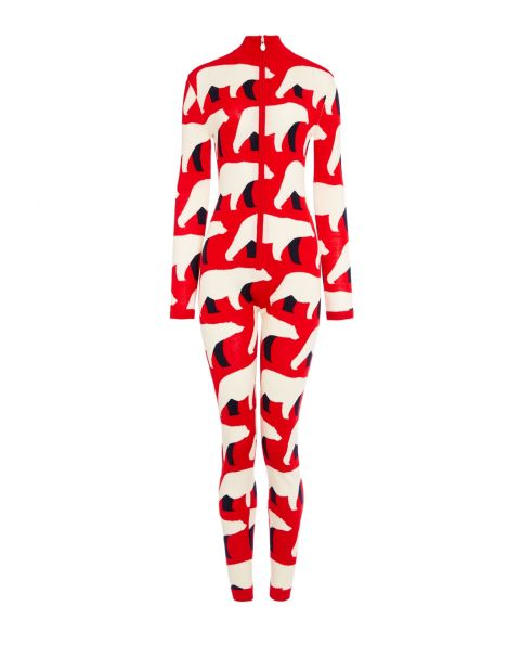 Womens Merino Wool Bear Jumpsuit Red