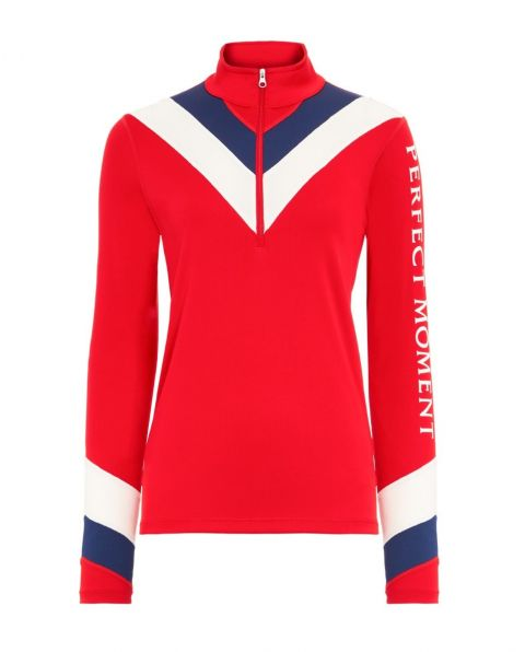 Womens Chevron Thermal Half-Zip Top Red