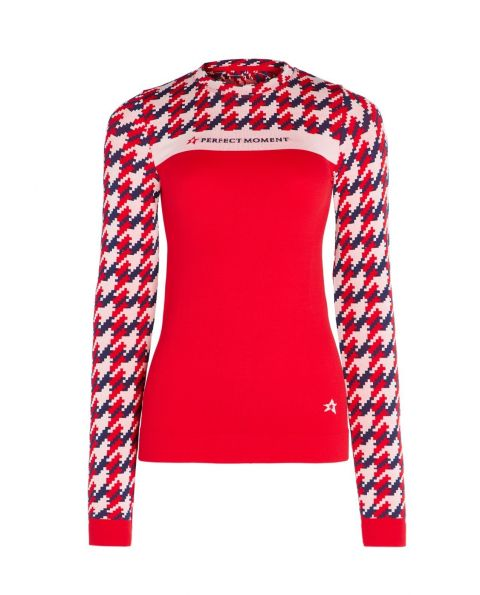 Womens Houndstooth Thermal Crewneck Red